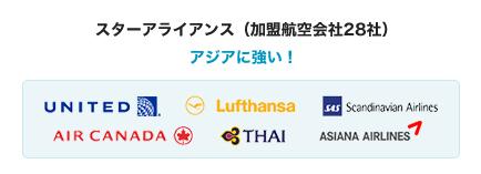 スターアライアンス(加盟航空会社28社)アジアに強い!