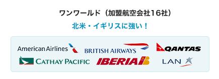 ワンワールド(加盟航空会社16社)北米・イビリスに強い!